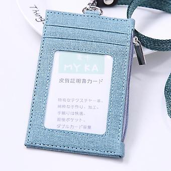 מחזיק תג מזהה עור מלאכותי עם שרוך מרובה חריצים תיק כיס עם כרטיס כסית רוכסן