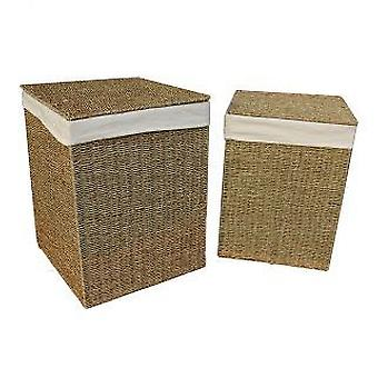 Set of 2 Seagrass Square Laundry Baskets