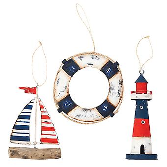 Sag Harbor Sailboat Lighthouse and Lifering Christmas Holiday Ornaments Set of 3