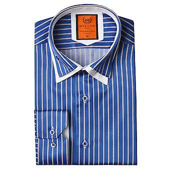 Oscar Banks Double Collar Pinstripe Mens Shirt