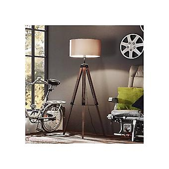 Eglo Lantada Tripod Lamp Wooden Base With Taupe Shade
