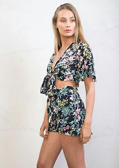 Frill Tropical Print Co Ord Green Crop Top