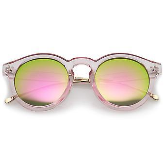 Transparent Metal Temple Keyhole Bridge Mirror Lens P3 Round Sunglasses 50mm