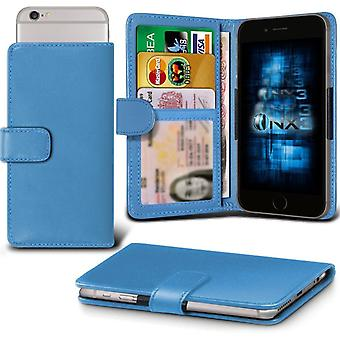 ONX3 Wiko Rainbow 4G Leather Universal Spring Clamp Wallet Case With Card Slot Holder and Banknotes Pocket-Light Blue