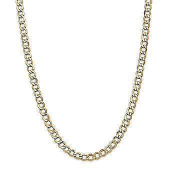 14k Gul Guld Hule poleret Hummer Klo Lukning 6.0mm Semi solid Curb Link Chain armbånd smykker gaver til kvinder -
