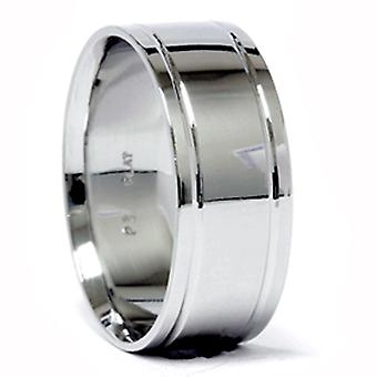 Mens Double Inlay trouwring 950 Platinum