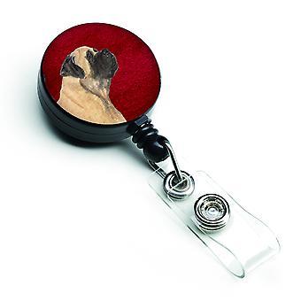 Carolines Schätze SS6024BR Mastiff versenkbare Abzeichen Reel oder -Schlüsselhalter mit C