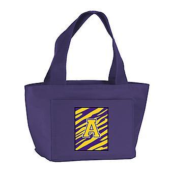 Letter Monogram Tiger Stripe Purple Gold Lunch Bag or Doggie Bag CJ1022