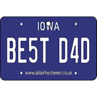 Iowa - Best Dad License Plate Car Air Freshener