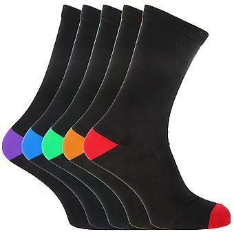 FLOSO Mens zwart katoen Rich hiel en teen sokken (pakje van 5)