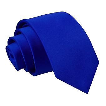 Satynowy krawat wąski Royal Blue zwykły