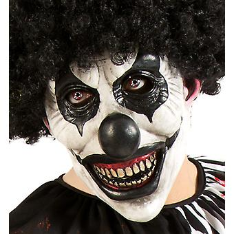 Horrorclown fehér fekete három-negyed maszk Halloween