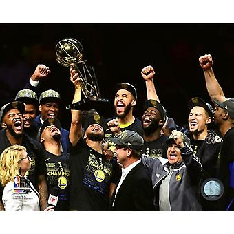 The Golden State Warriors celebrate winning Game 4 of the 2018 NBA Finals Photo Print