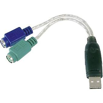 Digitus USB / PS/2 Tastatur/Maus Kabel [1x USB 2.0 Stecker A - 2x PS/2 Buchse] 10.00 cm Transparent