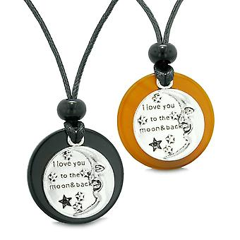 I Love You to the Moon and Back Couples Best Friends Medallion Amulets Agate Carnelian Necklaces