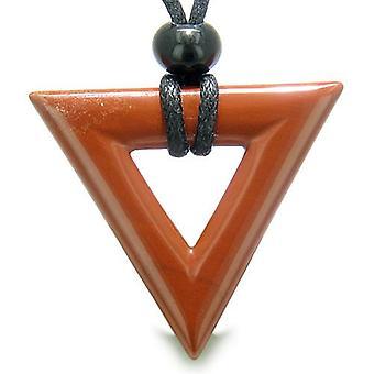 Amulet trekant magiske beskyttelse beføjelser heldige charme rød Jasper pilespids mener vedhæng halskæde