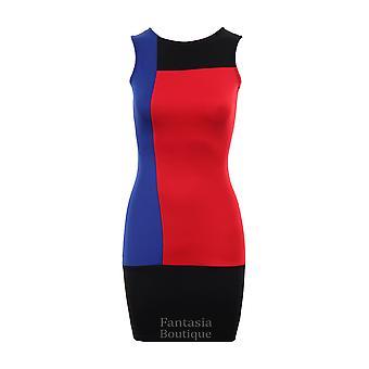 Efeito de senhoras novas painel sem mangas Slim Bodycon Dress feminino