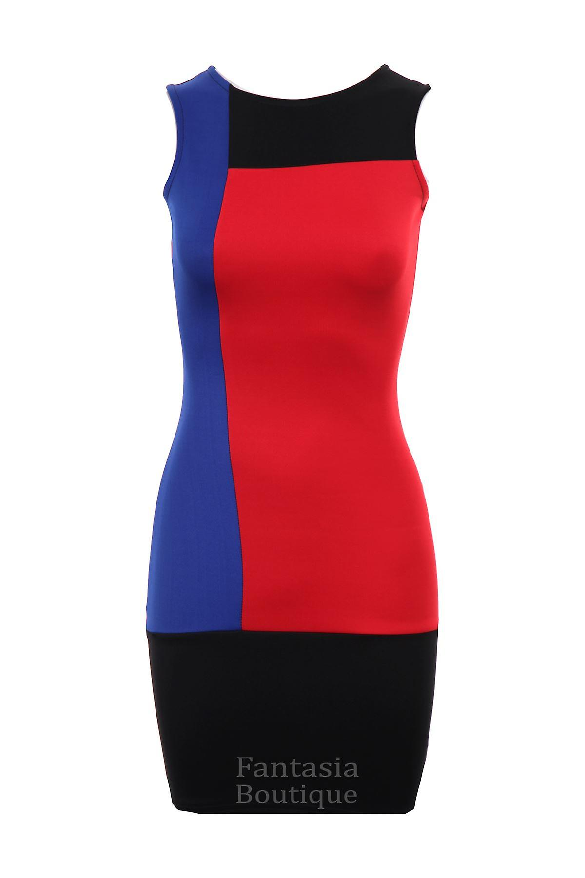 New Ladies Sleeveless Panel Slim Effect Women's Bodycon Dress