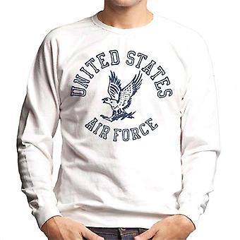 US Airforce Eagle Navy Blue Text Men's Sweatshirt