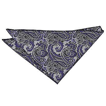 Argent & violet Royal Paisley mouchoir de poche