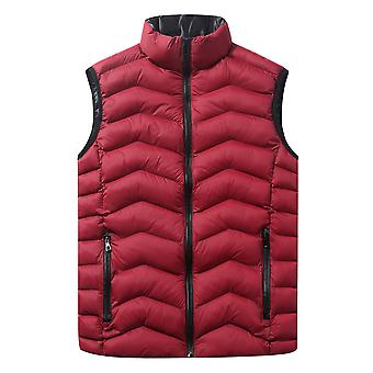 Cloudstyle Men's Quilted Vest Solid Stand Collar Sleeveless Jacket