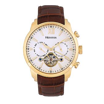 Heritor Automatic Arthur Semi-Skeleton Leather-Band Watch w/ Day/Date - Gold/Silver