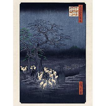 Hiroshige Kunstdruck Fox Fires on New Year's Eve at the Changing Tree in Oji, Papier 250 gr. matt Kleinformat 40 x 30 cm