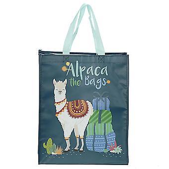 Alpaca shopper tas donker groen, afgedrukt, gemaakt van 100% polypropyleen.