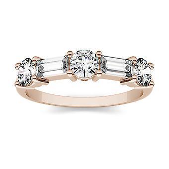 14 K Rose Gold Moissanite door Charles & Colvard 5x2mm rechte Baguette Fashion Ring, 1.15cttw DEW