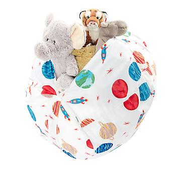 Loft 25 Grote Bedrukte (Space) Waterbestendige Store & Chill Soft Toy Storage Bean Bag met Carry Handle. Bewaar je knuffels netjes weg!