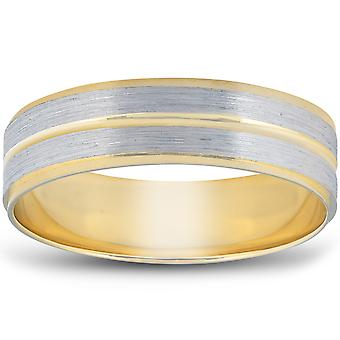 14K Gold Two Tone Flat Wedding Band 6mm Brushed White & Yellow Mens RIng