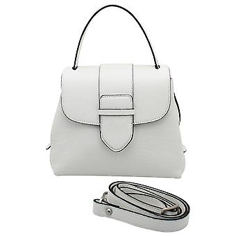 Abro White Leather Grab Handle Handbag