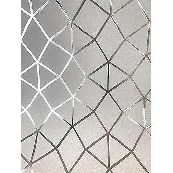 Geometric Trellis Silver Metallic Foil Wallpaper Shimmer Fine Decor Platinum
