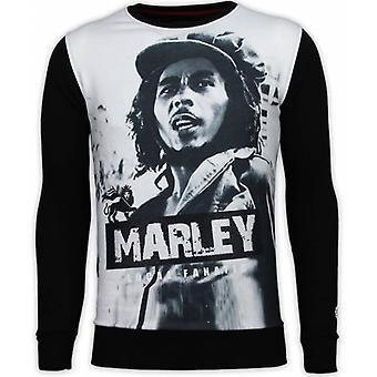 Bob Marley-Digital Rhinestone Sweatshirt-Black