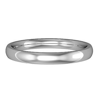 Κοσμήματα του Λονδίνου 18ct λευκό χρυσό-2,5 χιλιοστά ουσιαστικό σχήμα Δικαστηρίου μπάντα δέσμευση/δαχτυλίδι γάμου