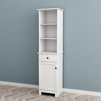 SoBuy White Floor Standing Tall Bathroom Storage Cabinet with 3 Shelves 1 Drawer 1 Cabinet,BZR17-W