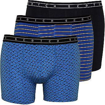 Scotch & Soda 3-Pack Solid, Stripe And Geo Print Boxer Briefs Gift Set, Blue/Black
