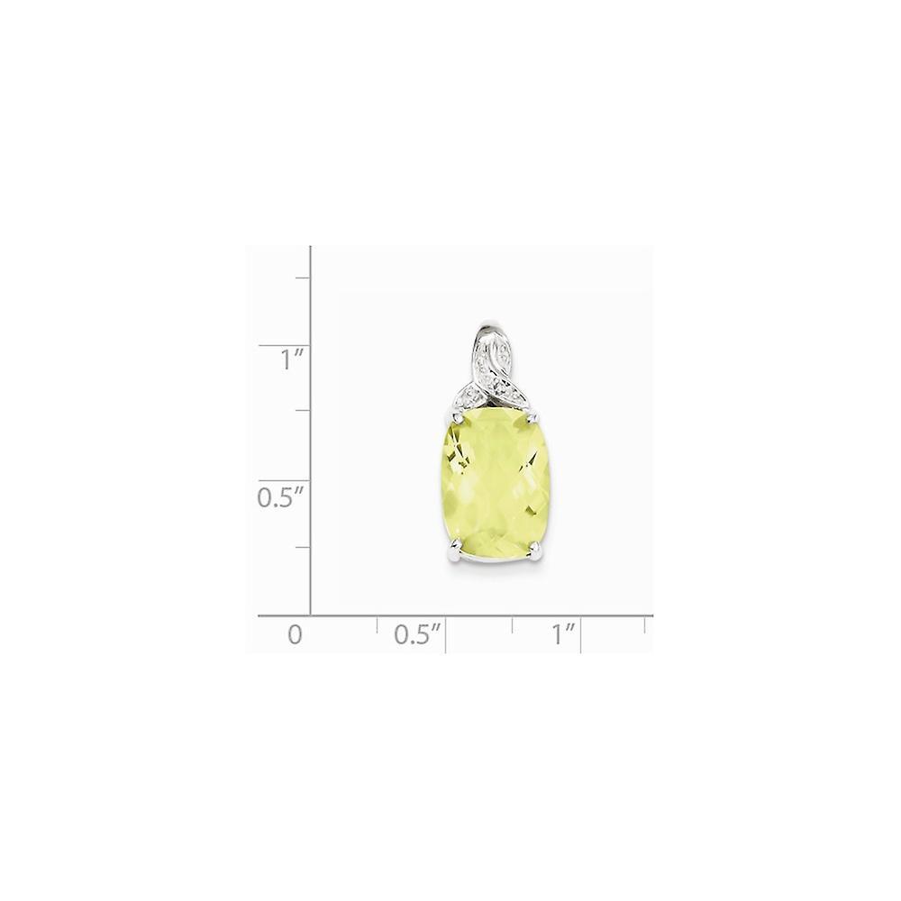 925 Sterling Silber open poliert Prong Set Rhodium vergoldet Fancy ausgeschnitten Zitrone Quarz Anhänger Halskette Schmuck Geschenk