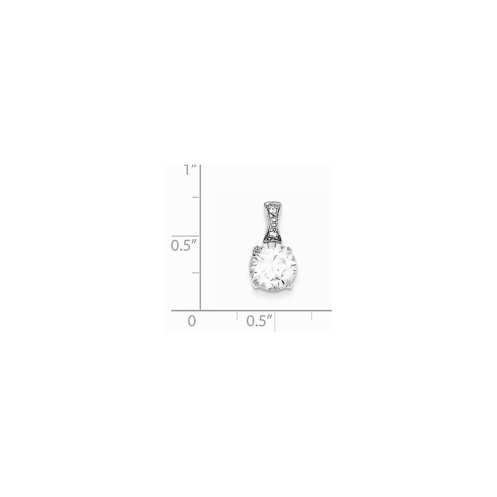 925 Sterling Silver Polished Open back CZ Cubic Zirconia Simulated Diamond Pendant Necklace Jewelry Gifts for Women