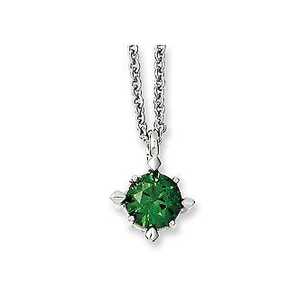 Roestvrij staal gepolijst Fancy Kreeft Sluiting Green CZ Cubic Zirconia Gesimuleerde Diamond Hanger 18inch Ketting 18 Inch
