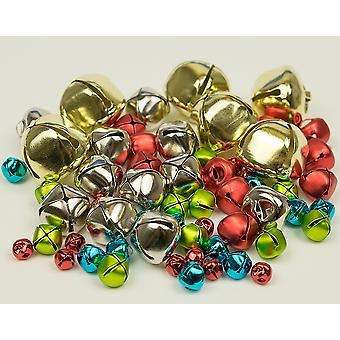 SALE - 60 Assorted Christmas Coloured Jingle Bells for Crafts