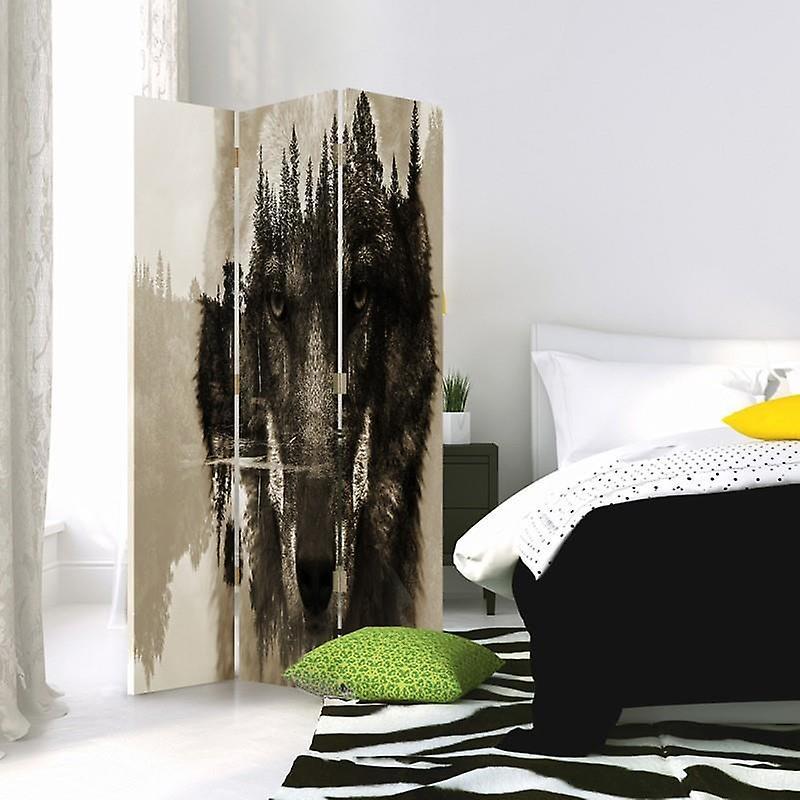 Diviseur de chambre, 3 panneaux, double-face, 360 rotatable, toile, loup gris sur un fond de forêt - Brown