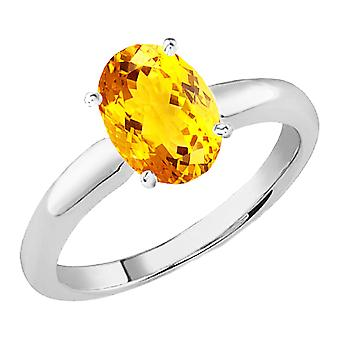 Dazzlingrock Collection 14K 9x7 MM Oval Cut Citrine Ladies Solitaire Bridal Engagement Ring, White Gold