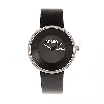 Crayo botão couro-Band Watch Unisex w / dia/data - preto