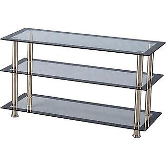 Harlekin Tv-Einheit klar Glas/schwarz Rand/Silber