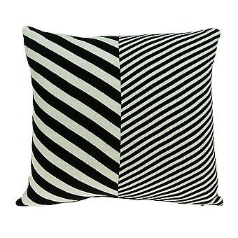 White and Black Pillow Cover With Down Insert