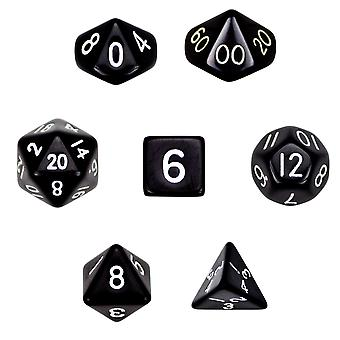 7 Die Polyhedral Dice Set  in Velvet Pouch- Opaque Black
