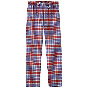 British Boxers Thorncliffe Two Fold Flannel Pyjama Trousers - Red/Blue