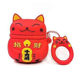 Estuche de silicona de dibujos animados para Apple Airpods-Chinese Lucky Cat-Red