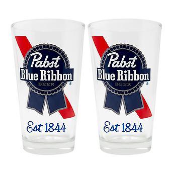 Pabst Blue Ribbon Est. 1844 2-Piece Pub Pint Glass Set